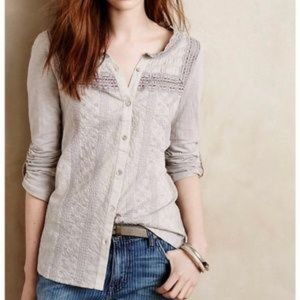 Anthropologie Meadow Rue Smocked Eula Button Up M